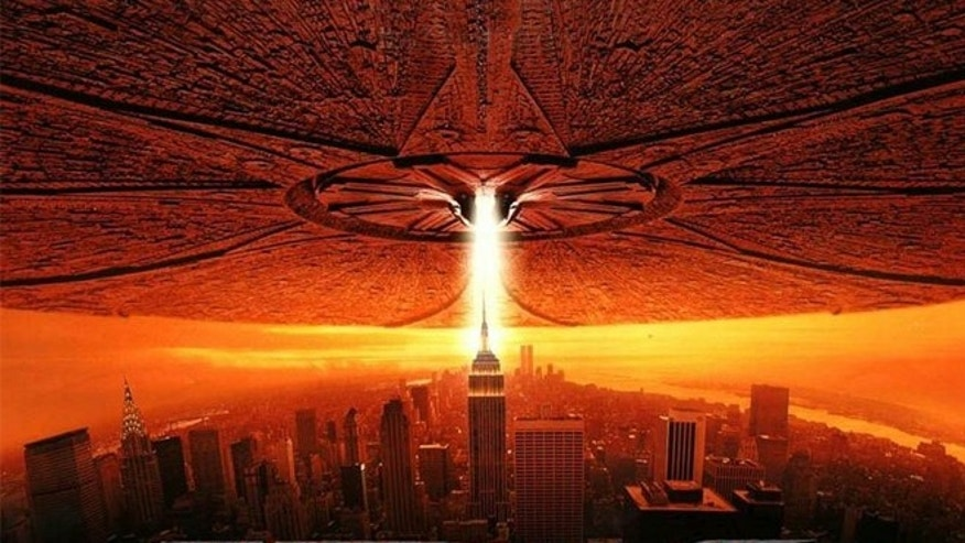 "An alien spacecraft attacking the New York City in the 1996 film ""Independence Day."""