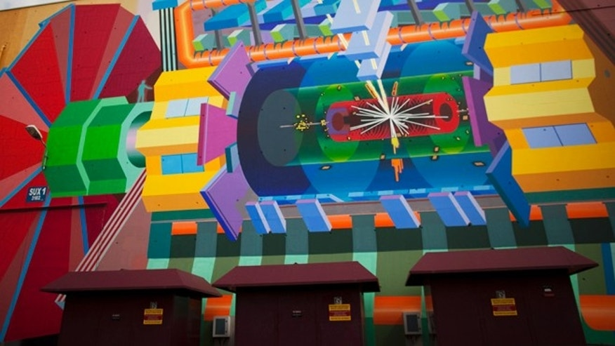May 20, 2011: A wall painting by artist Josef Kristofoletti  is seen at the Atlas experiment site at the  European Center for Nuclear Research, CERN, outside Geneva, Switzerland. The painting shows how a Higgs boson may look.