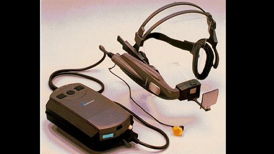 A 1998 image shows the pioneering but commercially unsuccessful wearable computer from Xybernaut -- an early predecessor to today's Google Glass Project.