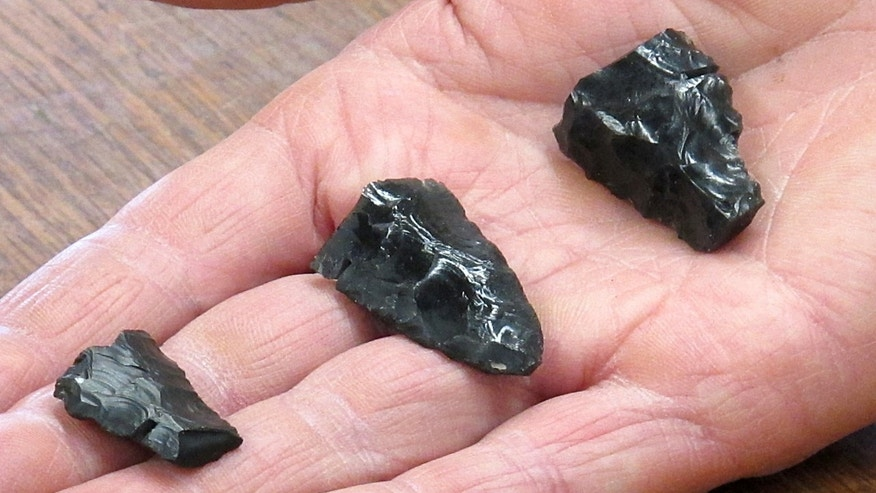 Displayed in the hand of University of Oregon archaeologist Dennis Jenkins are three bases for Western Stemmed projectiles from the Paisley Caves in Oregon. The bases date to some 13,000 years ago.