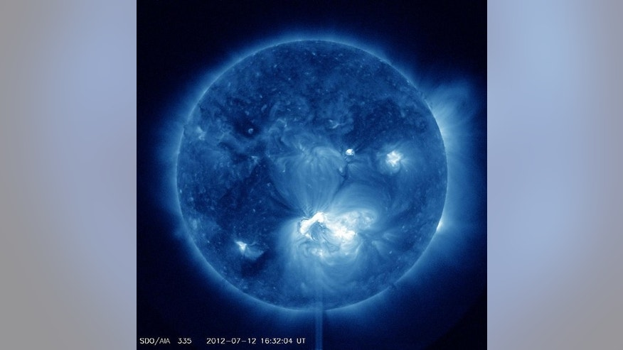 July 12, 2012: An X-1.4 class flare erupted from the center of the sun on Thursday.