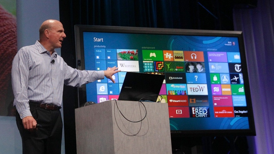 July 16, 2012: Microsoft CEO Steve Ballmer, Kirk Koenigbauer speaks at a Microsoft event in San Francisco. Microsoft unveiled a new version of its widely used, lucrative suite of word processing, spreadsheet and email programs Monday, one designed specifically with tablet computers and Internet-based storage in mind.