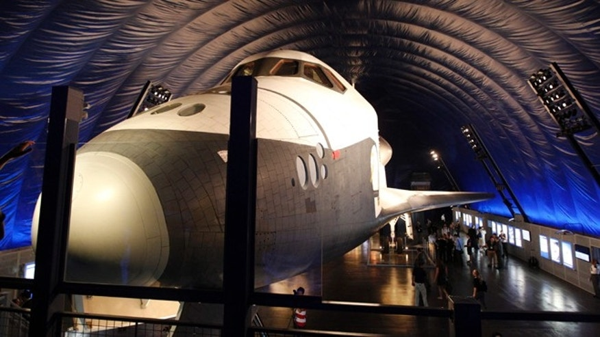 July 18, 2012: The Space Shuttle Enterprise sits on display at the Sea, Air and Space Museum's Space Shuttle Pavilion in New York. The Pavilion will be open to the public Thursday, July 19, 2012.
