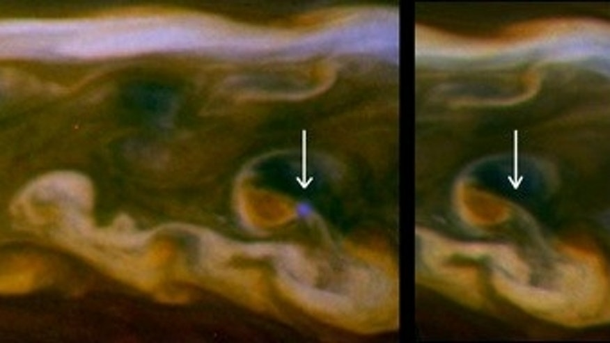 False color mosaics from NASA's Cassini spacecraft capture lightning striking within the huge storm that encircled Saturn's northern hemisphere for much of 2011.