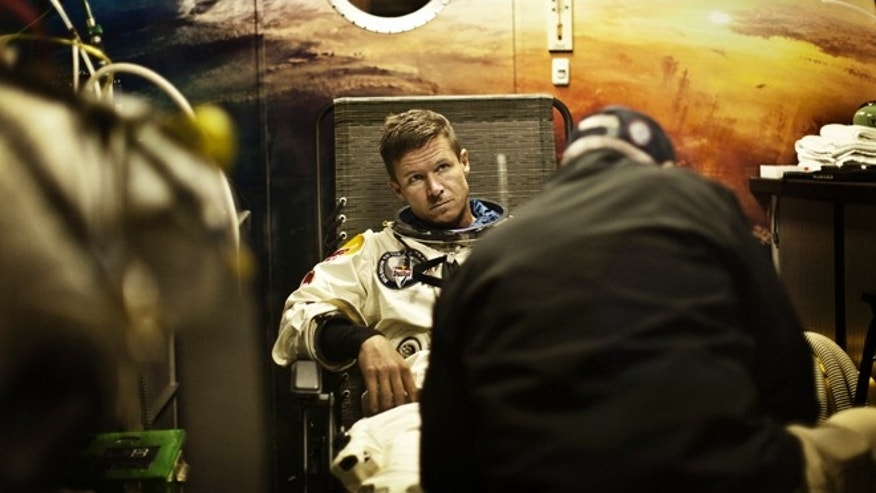 July 23, 2012: Baumgartner of Austria prepares for the second manned test flight.