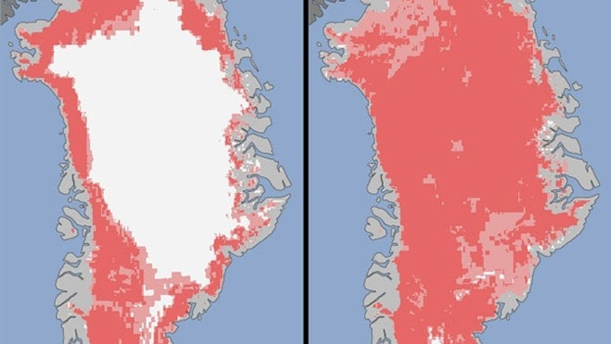 Extent of surface melt over Greenlands ice sheet on July 8 (left) and July 12 (right). Measurements from three satellites showed that in just a few days, the melting had dramatically accelerated and an estimated 97 percent of the ice sheet surface had thawed by July 12.