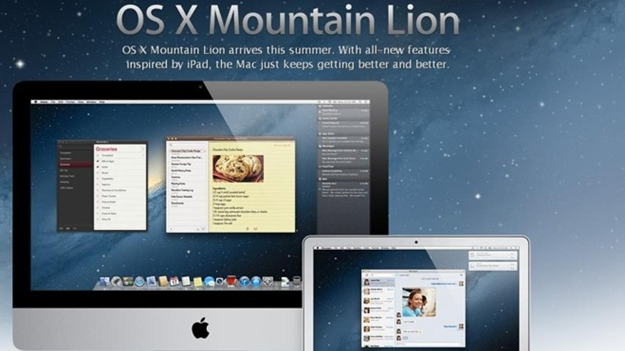 "A screenshot of the Apple.com website, where the company is showing off early images from a forthcoming ""Mountain Lion"" update to its operating system."