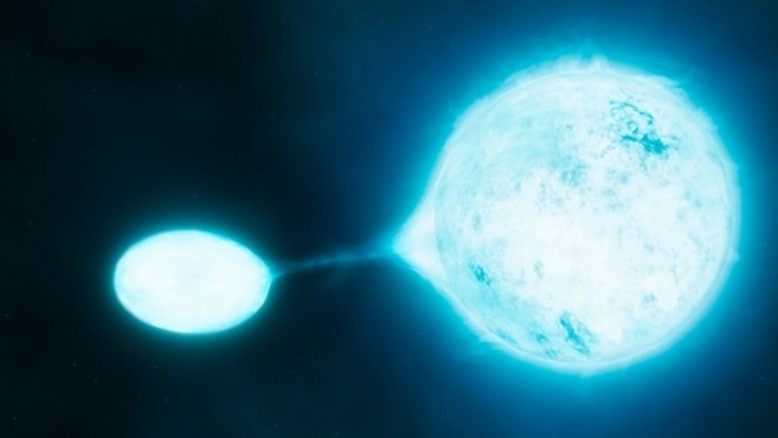 Artist's impression of a vampire star and its victim.