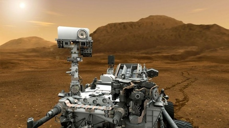 This artist concept features NASA's Mars Science Laboratory Curiosity rover, a mobile robot for investigating Mars' past or present ability to sustain microbial life.