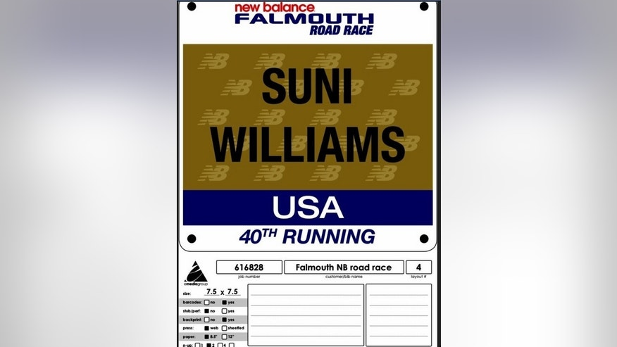 NASA astronaut Sunita Williams posted this photo of her race bib for the Falmouth Road Race on Twitter. Williams ran the 7-mile race on Aug. 12, 2012 aboard the International Space Station.