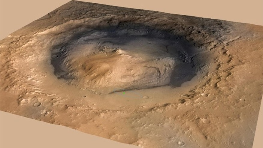 NASA&#39&#x3b;s Curiosity rover landed in the Martian crater known as Gale Crater, which is approximately the size of Connecticut and Rhode Island combined. A green dot shows where the rover landed, well within its targeted landing ellipse, outlined in blue.