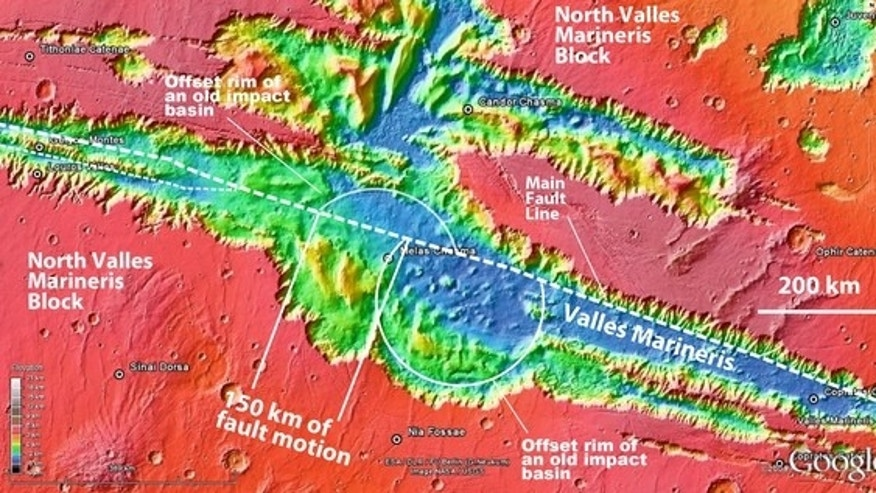 A view of the central segment of Mars' huge Valles Marineris canyon system, which may hold evidence of active plate tectonics.