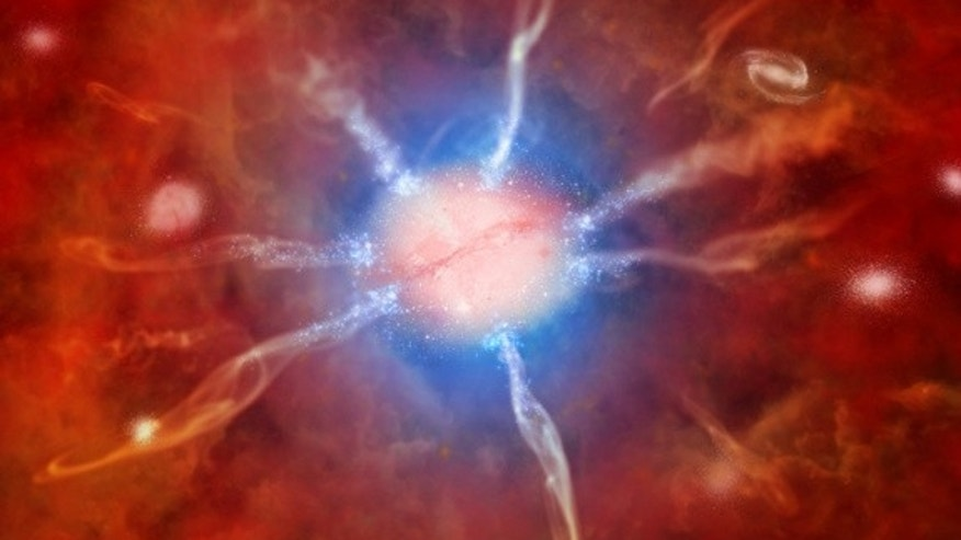 Artist's impression of galaxy at center of Phoenix Cluster.