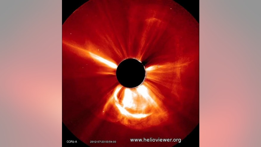 NASA's Solar TErrestrial RElations Observatory (STEREO) spacecraft observed this fast-moving coronal mass ejection on July 23, 2012. Because the CME is headed in STEREO's direction, it appears like a giant halo around the sun.