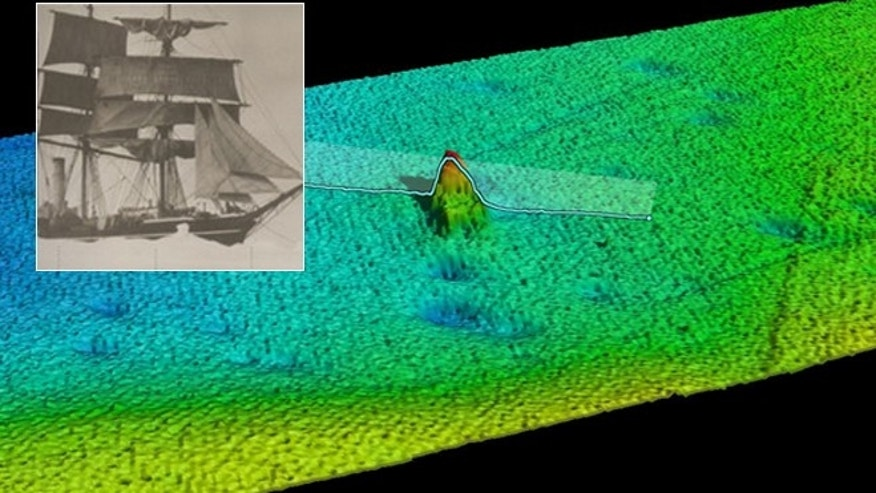 Computer visualization of the S.S. Terra Nova (inset) wreck reconstructed from the acoustic data.