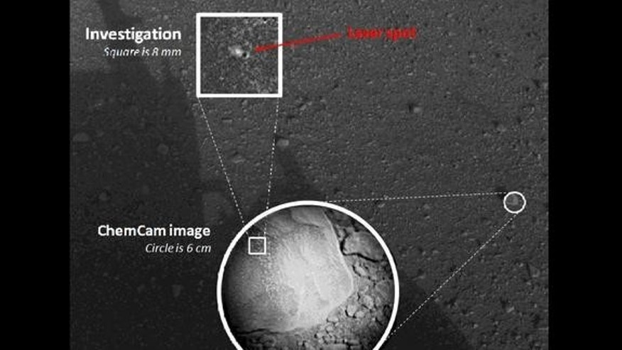 This composite image, with magnified insets, depicts the first laser test by the Chemistry and Camera, or ChemCam, instrument aboard NASA's Curiosity Mars rover on Aug. 19, 2012.