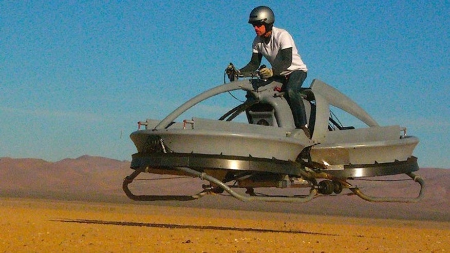 The Aerofex hover vehicle recalls the futuristic look of 'Star Wars' speeder bikes.