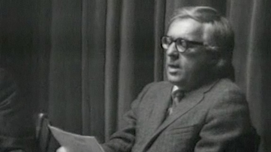 "Ray Bradbury reads his poem ""If Only We Had Taller Been"" in this still from a NASA video shot in November 1971."