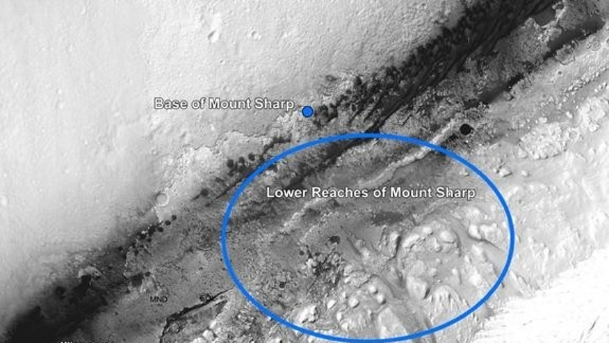 This image from NASA's Mars Reconnaissance Orbiter shows the Curiosity rover landing and destinations scientists want to investigate. The rover's first driving target is the region marked by a blue dot that is nicknamed Glenelg. Released Aug. 1