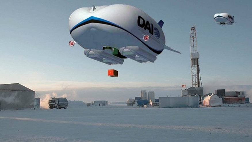 Artist rendering provided by Discovery Air Innovations shows the concept art of a hybrid air vehicle at an Arctic oil rig.