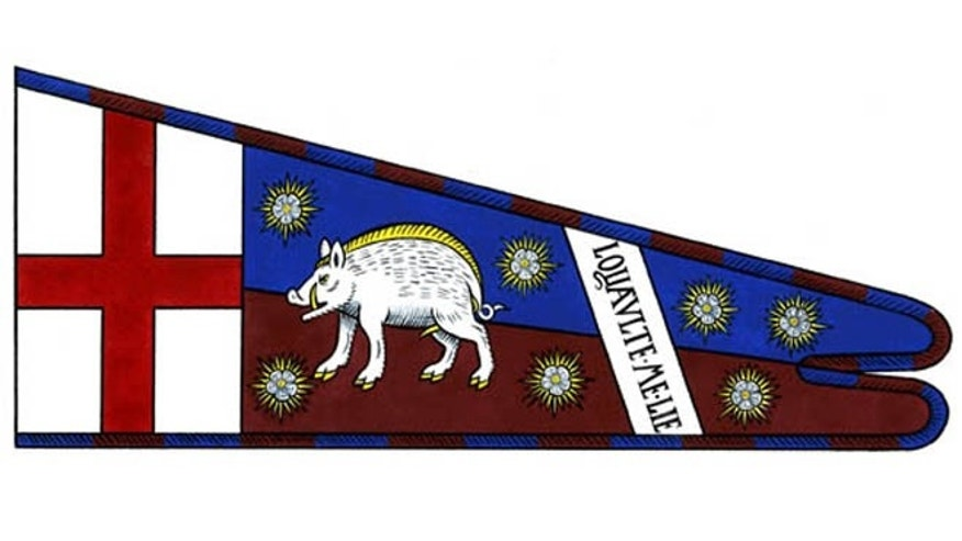 Richard III's standard featuring his symbol, the white boar, and his motto 'Loyaulte me lie' (loyalty binds me).
