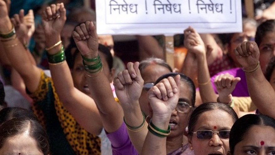 Aug. 24, 2012: Activists with Hindu Awareness Forum shout slogans against the blocking of their web-portal in Mumbai, India. The Indian government's attempts to block social media accounts and websites that it blames for spreading panic have been inept and possibly illegal, a top internet expert said Friday.