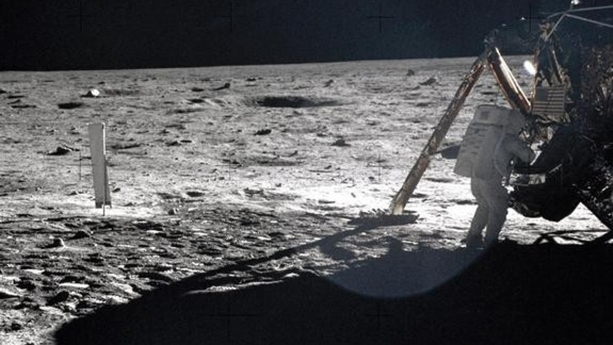 Apollo 11 astronauts trained on Earth to take individual photographs in succession in order to create a series of frames that could be assembled into panoramic images. This frame from Aldrin's panorama of the Apollo 11 landing site is the only