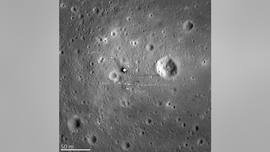 The Lunar Reconnaissance Orbiter Camera snapped its best look yet of the Apollo 11 landing site on the moon. The image, which was released on March 7, 2012, even shows the remnants of Neil Armstrong and Buzz Aldrin's historic first steps on the