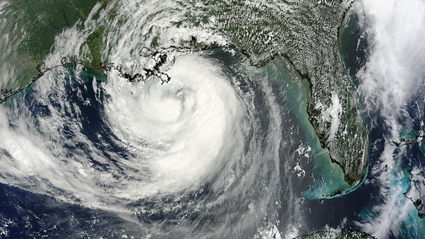 The MODIS instrument on NASA's Terra satellite captured this visible image of Hurricane Isaac as it approached Louisiana on Aug. 28 at 12:30 p.m. EDT.