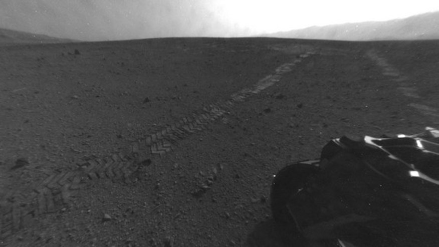This photo from NASA's Mars rover Curiosity was taken on Aug. 28, 2012, after the rover drove 52 feet (16 meters) to begin its weeks-long drive east to the first science target Glenelg. It's the rover's longest drive yet.