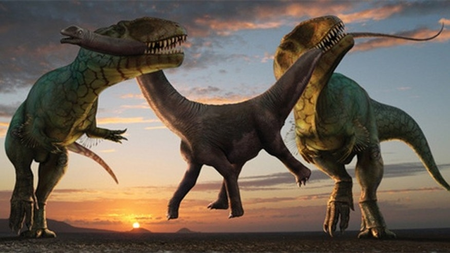 Robert Nicholls captures dinosaur death in all its glory; working together, two Carcharodontosaurus saharicus steal away a juvenile Parilatitan stromeris from its family herd. Living during the Upper Cretaceous, the giant C. saharicus is often referred to as the African T. rex, rivaling the tyrant lizard in size.