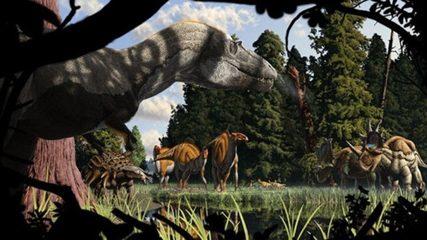 A Metasequoia forest in what is now Montana during the Late Cretaceous. Dinosaurs (from left to right): Gorgosaurus libratus, Edmontonia longiceps, Brachylophosaurus Canadensis, Stegoceras validum, Chasmosaurus belli, and Styracosaurus albertensis.