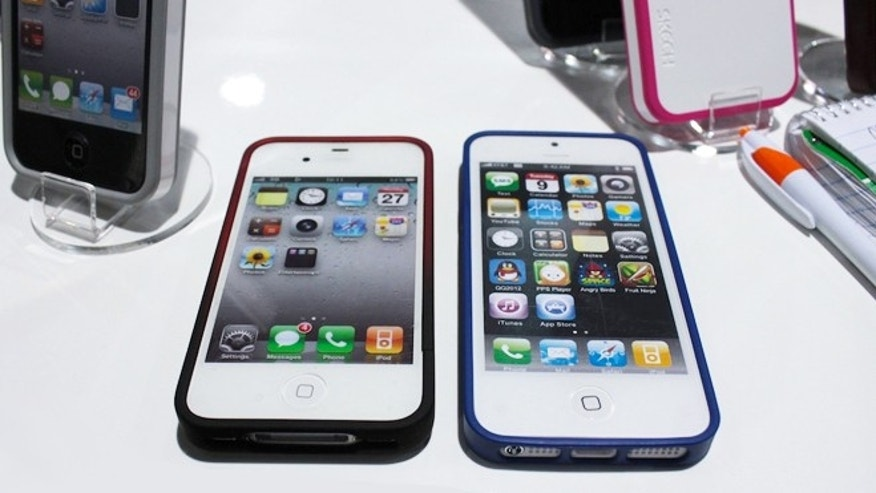 An iPhone 4/4 S case at left and new case at right  with iPod 5 mockup showing new connector.