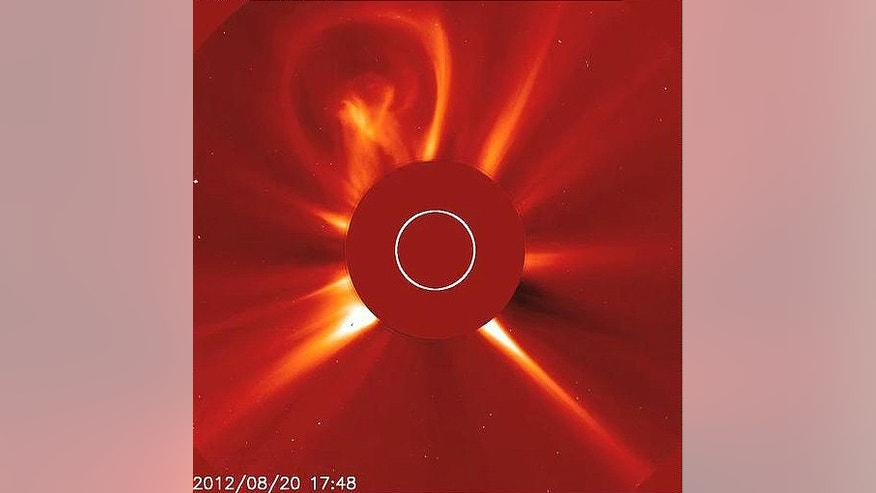 The sun unleashed this light bulb-shaped coronal mass ejection on Aug. 20, 2012. Photos of the eruption were snapped by the sun-watching Solar and Heliospheric Observatory.