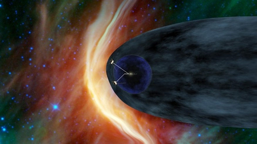 This artists rendering provided by NASA shows the Voyager spacecraft barreling through space.