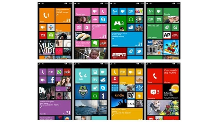 A collection of Windows Phone 8 screenshots, showing off the varied patterns of tiles possible with the new mobile operating system.