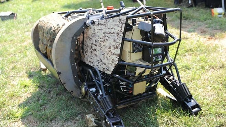 A prototype of the LS3 'robot mule' shown off at Joint Base Myer-Henderson Hall in Fort Myer, Va., by the Defense Advanced Research Projects Agency.