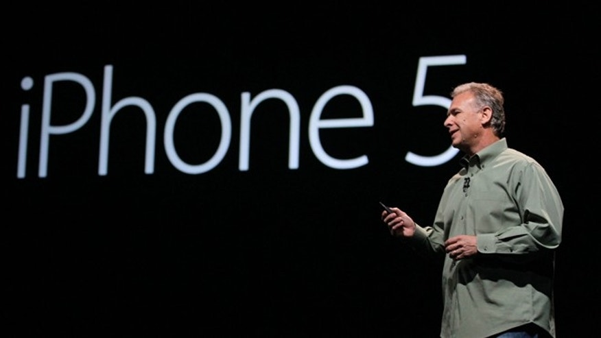 Sept. 12, 2012: Phil Schiller, Apple's senior vice president of worldwide marketing, speaks on stage during an introduction of the new iPhone 5 at an Apple event in San Francisco.