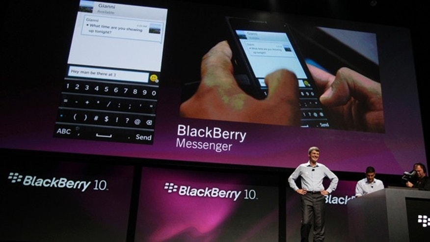Sept. 25, 2012: Thorsten Heins, President and CEO of Research in Motion, talks about the messenger capabilities of the new BlackBerry 10 at the BlackBerry Jam Americas conference in San Jose, Calif.