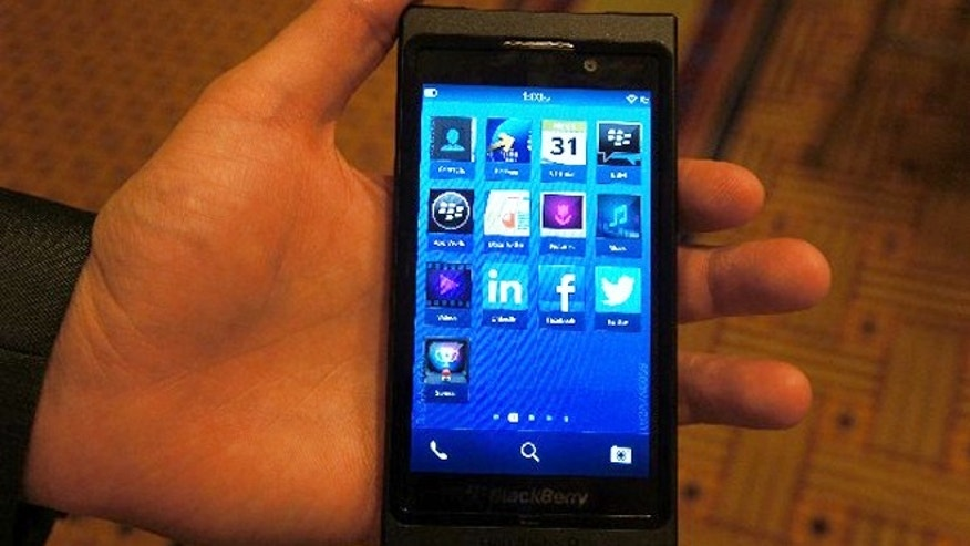 A Blackberry developer phone runs the Blackberry 10 operating system, the next version of the software that powers the company's smartphones.