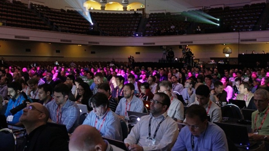 Sept. 25, 2012: People sit and listen to keynote speakers in the San Jose Civic Auditorium at the BlackBerry Jam Americas conference in San Jose, Calif.