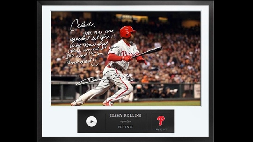 An Egraph signed by Philadelphia Phillies baseball player Jimmy Rollins, including an autographed digital picture with a handwritten note and a personalized audio message for $50.