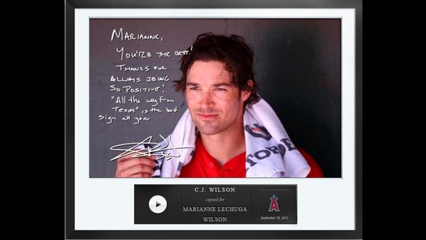 An Egraph signed by Los Angeles Angels pitcher C.J. Wilson, including Egraphs, an autographed digital picture with a handwritten note and a personalized audio message for $50.