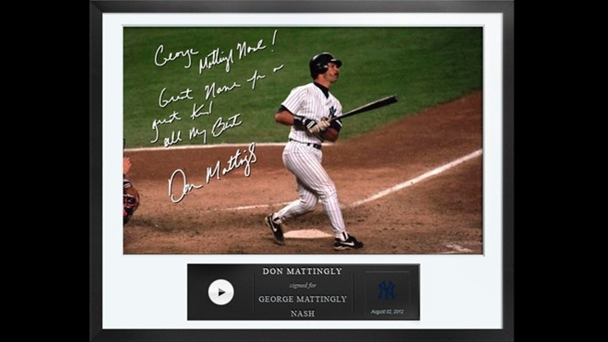 An Egraph signed by former New York Yankees baseball player Don Mattingly.