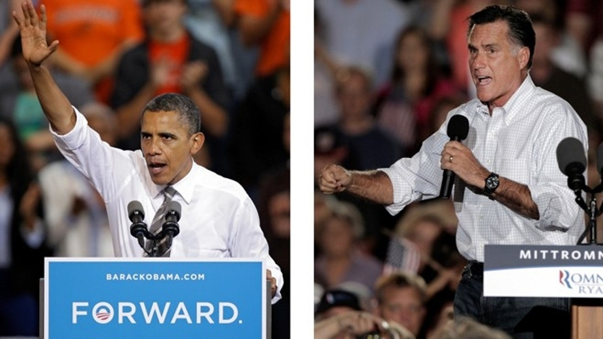 Sept. 26, 2012: President Barack Obama and Republican presidential candidate Mitt Romney both campaign in the battleground state of Ohio. Fierce and determined competitors, Obama and Romney each have a specific mission for the string of three debates that starts Wednesday night, Oct. 3, 2012.