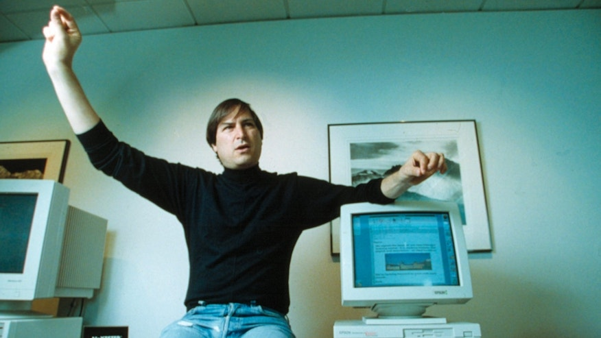 Steve Jobs, co-founder of Apple Computer, gestures during an interview at the heardquarters of Next Computer Inc. in Redwood City, Calif. on April 21, 1993.