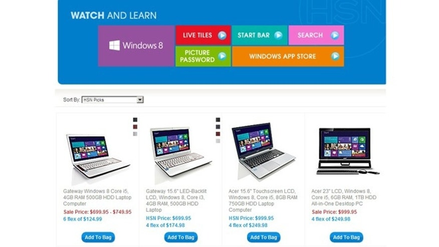 Windows 8 PCs hit the web two weeks early, seen here in a screenshot of the Home Shopping Network&#39&#x3b;s website.