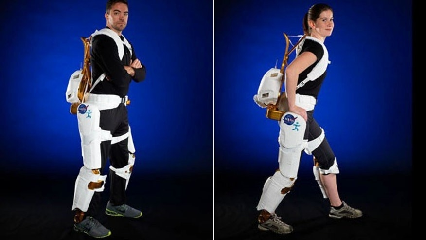 Engineers demonstrate the X1 Robotic Exoskeleton for resistive exercise, rehabilitation and mobility augmentation in the Advanced Robotics Development Lab.
