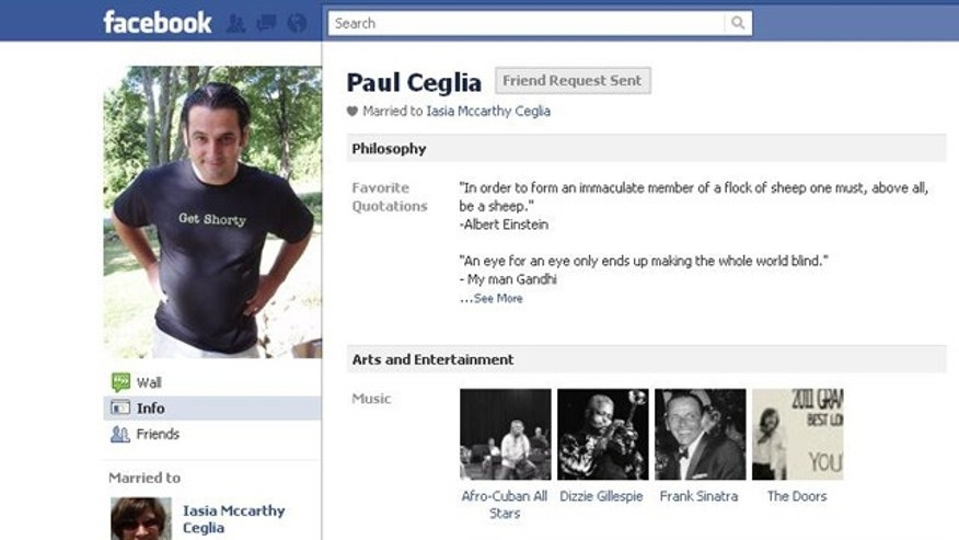 A screenshot of Ceglia's Facebook page.