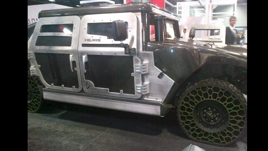 Oct. 24, 2012: Polaris Defense showed off new lightweight armor and unflattenable tires at the annual meeting of the Association of the U.S. Army.
